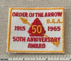 Vtg 1965 Order Of The Arrow 50th Anniversary Award Patch Oa Sash Boy Scout Www