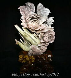 17 Natural Purple Pink Xiu Jade Jadeite Carved Flower Butterfly Lucky Statue