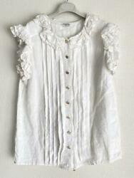 Cleaned Vintage Ruffled Gold Button Blouse From Japan Fedex No.8338