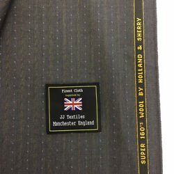 Holland And Sherry Grey Stripe Super 160and039s Wool Suit Fabric. 6006
