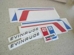 Evinrude Sportster 25 Vintage Outboard Motor Decals Free Ship + Free Fish Decal