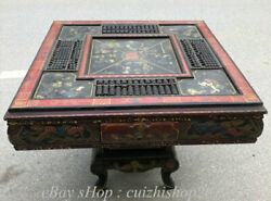 40huge Old Wood Lacquerware Dragon Tongzi Fish Abacus Table Chair