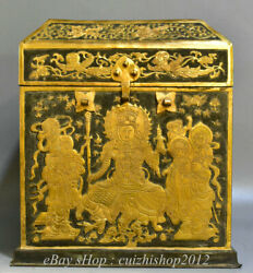 11 Old Budhdism Temple Copper 24k Gilt Gold Buddha Dragon Box Chest Container