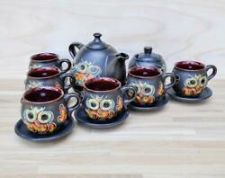 Ceramic Vintage Teapot Cups Handmade Crow Sugar Teapot Pattern Feature For Home