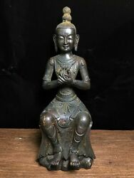 15.3 Antique Old Tibet Buddhism Bronze Gilt Guanyin Statue Asian Collections