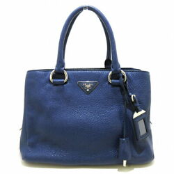 Tote Bag Women 's Navy Leather Tags Razor Secondhand