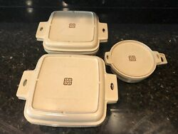 6 Pieces Vintage Littonware Microwave Cookware 2 Square, 1 Round With Lids