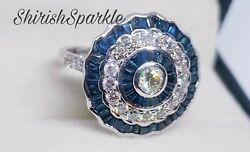Target Ring With Natural Blue Sapphire Natural Diamond White Gold Ring