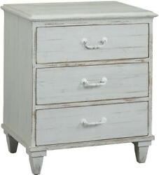 Dudley Nightstand Distressed White Paint Solid Wood