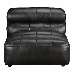 Moe's Home Ramsay Leather Armless Chair With Antique Black Qn-1009-01
