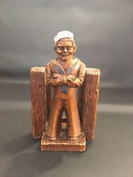 Vtg Navy Sailor Playing Or Business Card Holder Painted Composite Wood Ornawood