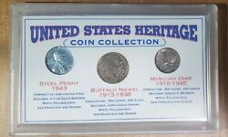 United States Heritage Coin Collection Mercury Dime, Buffalo Nickel, Steel Penny