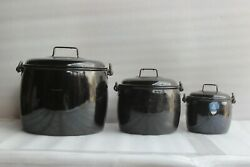 3 Pc Made In England Vintage Kitchenware Antique Enamelware Collectible Bu-56