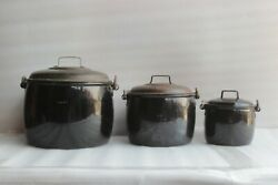 3 Pc Made In England Vintage Kitchenware Antique Enamelware Collectible Bu-57