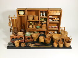 Japanese Tradition Miniature Kitchen Of Period Toy Antique Doll Houses In Japan