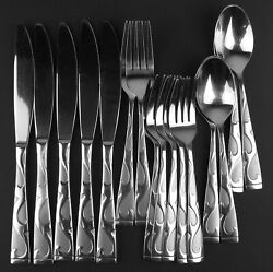 16 Pc Lot Oneida Tuscany Stainless Knives Forks Spoons Frosted W Glossy Scrolls