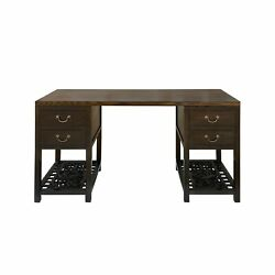 Chinese Dark Brown Panel Carving Wood Editor Office Writing Desk Table Cs6960