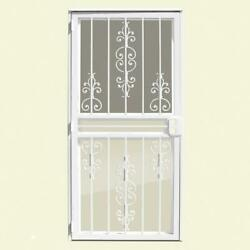 Security Door 32 In. X 80 In. White Recessed Mount W/ Screen And Glass Inserts