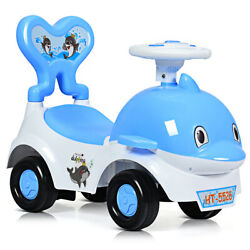 3-in-1baby Walker Sliding Car Pushing Toy Cart Ride On Toy W/ Sound Blue