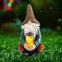 11.3 Tall Garden Gnome Statue With Solar Powered Lights