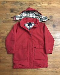 Vtg Woman Woolrich Parka Jacket Coat Plaid Wool Lined Size Large Made In Usa