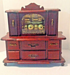 Antique Gorham Musical Jewelry Box With Striking Bells -rich Brown Wood