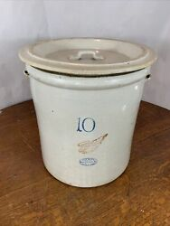 Rare Red Wing 10 Gallon Crock Vintage Pottery Antique Stoneware Very Nice W/ Lid