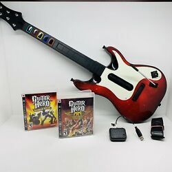 Ps3 Guitar Hero 5 Wireless Controller With Dongle Aerosmith And World Tour Games