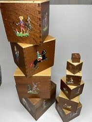Vintage Wooden Toy Children Fairytale Nesting Boxes - Dove Tail. Set Of 10