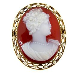 Very Rare Agate 14k Yellow Gold Pearl Seeds Antique Ladies Portrait Cameo Brooch