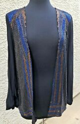 French Connection Deco Sequin Crepe Blazer Jacket Black/blue/gold Size 8 Nwt
