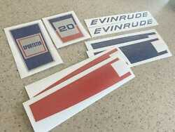 Evinrude Vintage 20 Hp Sportster Motor Decals Free Ship + Free Fish Decal