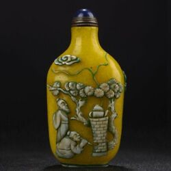 Peking Chinese Glass Snuff Bottle Carved Statue Yellow Carving Figure-story Qing