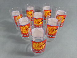 Set Of 8 Coca-cola Glasses 16oz. Usa Made 1995 X Indiana Glass Co. Crystal Clear