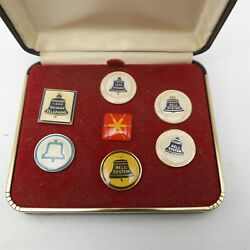 Vtg Lot Of 7 Bell Telephone Bell System Employee Pins In Case Very Nice