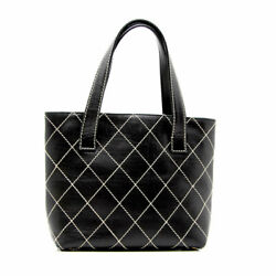 Wild Stitch Tote Bag Leather Black From Japan Fedex No.1757