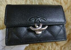 Double Coco Clip Compact Trifold Purse Ap1175 Black Women And039s No.2799