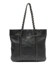 Leather Chain Tote Bag Silver Fittings Women 's Previously Owned No.2809