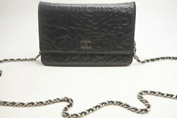 Used Bag Camellia Lambskin Chain Wallet A47421 Silver No.2861