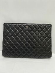 Big Clutch Punching Bag Leather Blk Plain Quilted Diamond Used No.3039