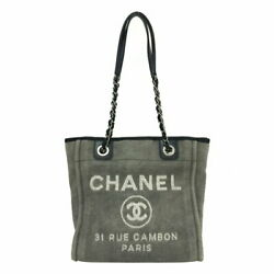 Deauville Pm Chain Tote Bag Charcoal Gray Previously Owned No.4651