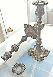 Antique Floral Silver Plated Candlesticks