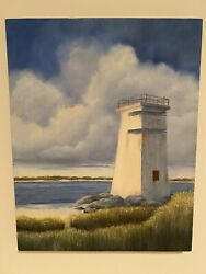 Lighthouse On The Bay Oil On Wood Painting By Lee Lindgren