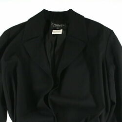 Pole Coco Button Belted Long Jacket Coat 96p Black P4107 No.7378