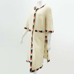 Outer 07a P32101 Long Jacket Coat Tweed Ivory Clothes R5281 No.7318