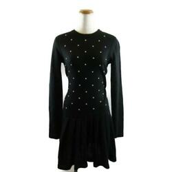 Dress With Pearls No Pedic Coat Women 's Mohair Cashmere Black No.7526