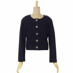 Vintage No Color Tweed Jacket Wool Outer Women 's 34 Navy No.8365