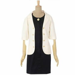 Vintage Coco Mark Button Jacket Docking Dress Women And039s 38 Black No.8360