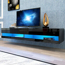 71 Tv Stand Wall Mounted Floating With 20 Color Led Hanging Tv Consoles For 80