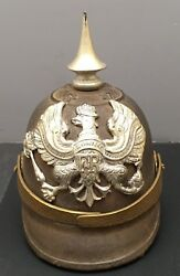 Presentation Japanese 1914-1918 Wwi Iron Helmet Style- Sterling Silver Inkwell.